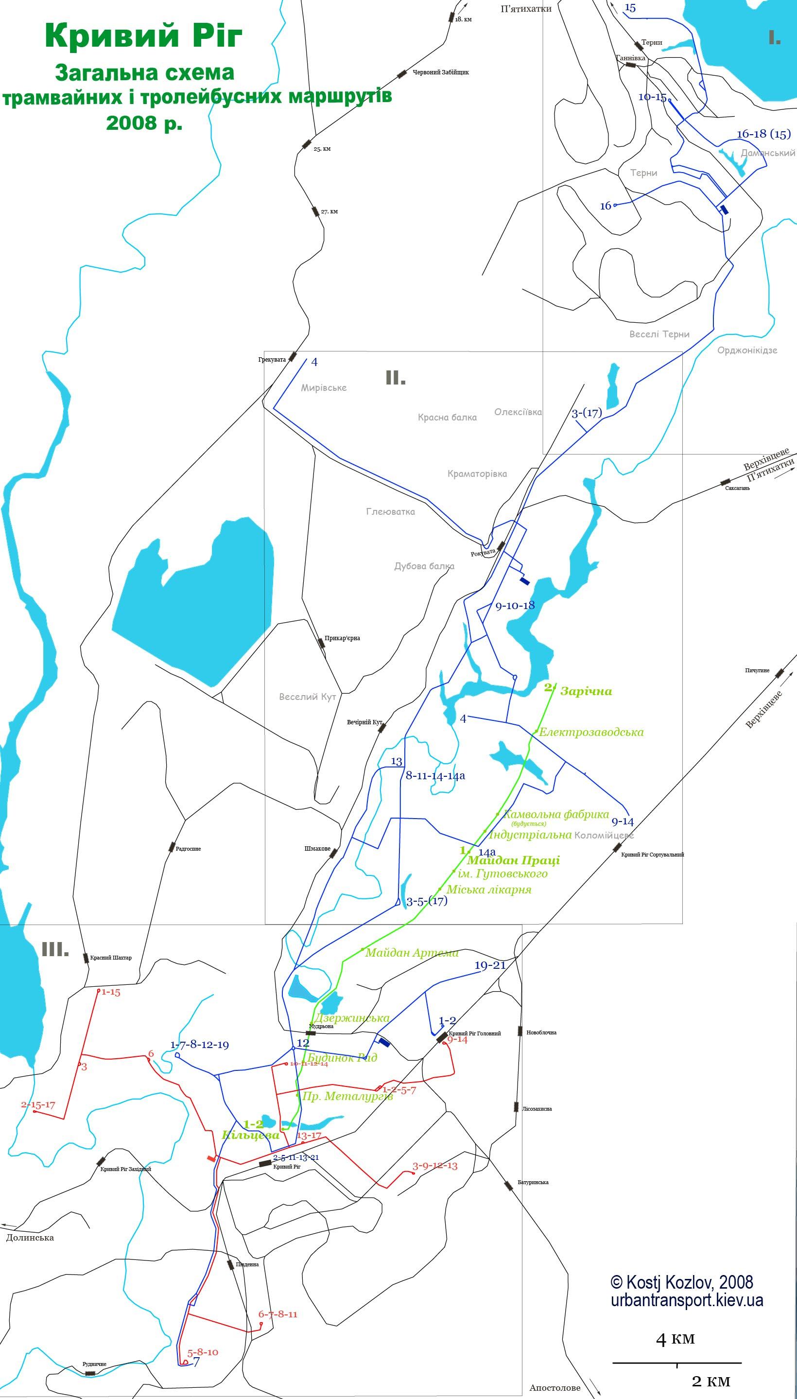 Схема маршрутов маршруток кривого рога
